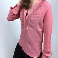 LC Lauren Conrad Lace Trim V-Neck Pink Tunic Blouse Top Women's Size Small