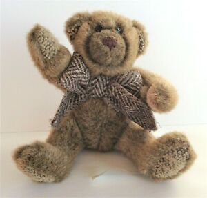 Kensington Bear Co Brown Jointed Teddy Bear with Tweed Ribbon 20 cm Height