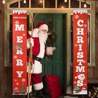 Merry Christmas Santa Claus Snowman Banner Flag Wall Hanging Xmas Party Decor US