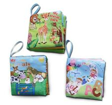 Soft Cloth Baby Books Set of 3. ABC and Animals or Numbers and Shapes