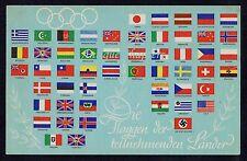 1936 Berlin Olympic Games Flags Flaggen Teilnehmenden Länder Postcard B1100