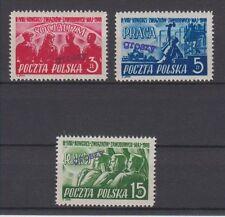 POLAND 1950 GROSZY OVPT ON SCOTT 451-453 MICHEL 630-632 MNH
