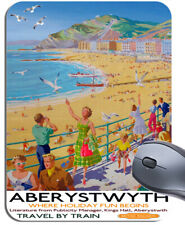 Aberystwyth Wales Vintage Railway Poster Mouse Mat. Travel By Train Mouse Pad