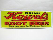 "Vintage Style 16.5"" x 7"" Metal Tin Porcelain Enamel Drink Howel's Root Beer Sign"