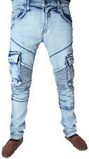 Mens skinny combat jeans, bleached wash biker distressed Georgio Peviani hip hop