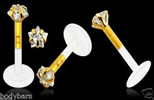 14k Carat Gold Bioplast Labret 3mm Claw Set Star Gem Monroe Piercing Bar 16g