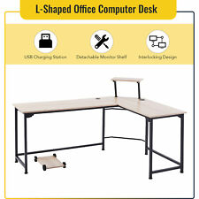 L Shaped Gaming Desk With 2 Usb Ports For Home Office Study 66x19 47x19 Oak