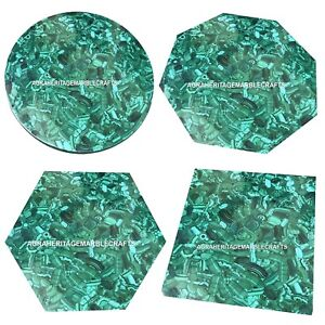 Marble Center Coffee Top Table Random Malachite Inlay Stone Housewarming Gift