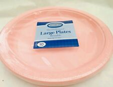 10 X pink   plastic plate-  26cm reuseble  for party and all occasions
