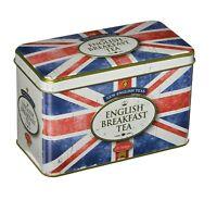 NEUF Anglais Thés style vintage Union Jack étain 40 Anglais petit déjeuner