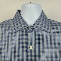 Peter Millar Blue Gray Check Plaid Mens Dress Button Shirt Size Large L