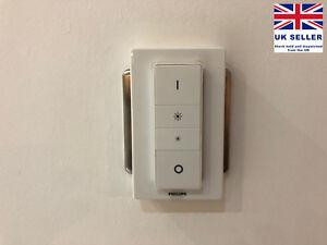New Philips Hue Dimmer UK Light Switch Adapter Plate | Converter | Cover - WHITE