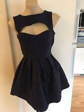 Ladies Dark Blue Black PILGRIM Dress Size 8 Party Cocktail Cut Out Full Skirt