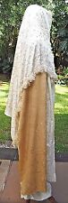"""Pale Gold & Cream Colored Sari W/Iridescent  Spots & One Fringed End 242"""" x 46"""""""
