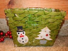 Vintage Christmas Card Holder Wicker Basket covered w/ Green Cello Snowman Tree