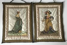 2 Trapunto Wall Hangings European Costume Designs by Jean Holbein Fabric Chintz