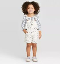 OshKosh Bgosh Girls Overall Shorts White Blue Polka Dot...