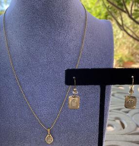 HOLLY YASHI Necklace & Earring Set 1995-2002 Era Gold Filled Crystal EUC Dainty