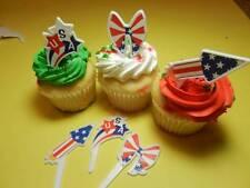 12 Patriotic July 4th Rockets Ribbons USA Cupcake Picks Toppers Decorations