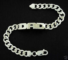 925 STERLING SILVER MENS DAD OR ANY NAME GENTS ID CURB BRACELET