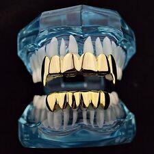 Best Grillz Vampire Fang Set 14k Gold Plated Plain Top And Bottom Hip Hop Teeth