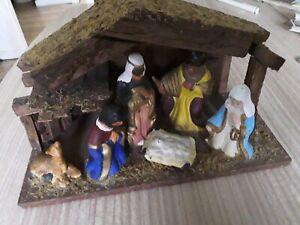 Vintage Wood And Ceramic Nativity Set