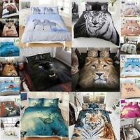 Duvet Cover Set 3D Animal Print Bedding Super King Size Double Single New Quilt