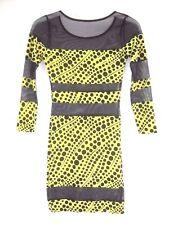 Retro Go Go Groovy Mod Womens Costume Dress Yellow Black Polka Dot Sz S  BB103