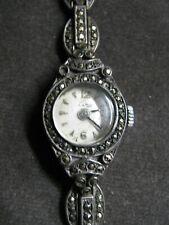 Alte Damen Armbanduhr 925 Silber mit Markasiten Steinen Harley Ronda SA Uhrwerk