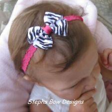 Shock Pink Black White Zebra Dainty Hair Bow Headband 4 Preemie Newborn Toddler