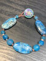 "Vintage Beautiful Beaded Blue Stone Vitrail Dragonfly Clasp bracelet 8.5"" Large"