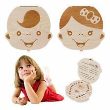 Usa Baby Tooth Box Wooden Milk Teeth Organizer Storage Boys Girls Save Souvenir