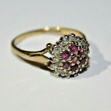 Vintage Pretty 9 Ct Yellow Gold Real Pink Ruby & Diamond Engagement Ring Size K