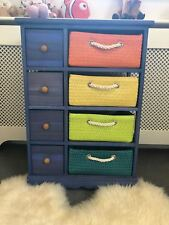 Retro Blue Multi Coloured Storage Unit Kids Bedroom Hallway Cupboard Cabinet