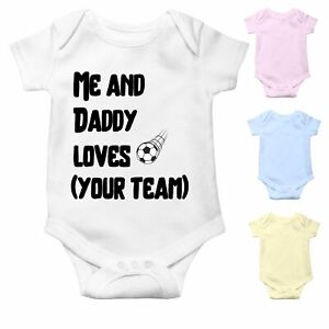 Personalised Football Baby Grow with your Football team name   Customisable Gift