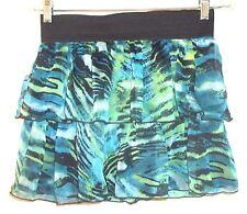 Wet Seal Blue & Green Tiered Mini Skirt w/Black Elastic Waistband Sz L