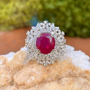 Estate 18KT White Gold Oval 4.83 CT Genuine Ruby + Pave Diamond Statement Ring 8