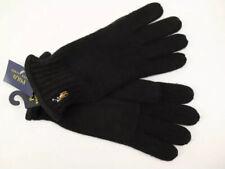 NWT $68 RALPH LAUREN One Size Men's Black 100% Wool Double Knit Suede Gloves