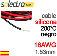 1m CABLE SILICONA 16AWG 1.53mm Negro FLEXIBLE resistente 200°C 3.7A K0101