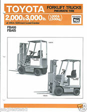 Fork Lift Truck Brochure Toyota Fba10 Fba15 Pneumatic Tire Lt265