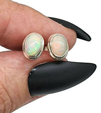 Ethiopian Opal Studs, Sterling Silver, Oval Shaped, October Stone