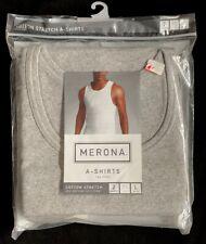 Merona Men's A-Shirt 2 Pack Gray Tag Free Size Large Vintage NIP