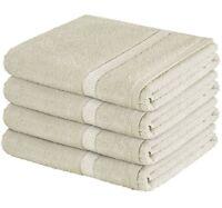 Lazzaro LUXURY 4 PACK BATH SHEETS 100% COTTON STRIPE BATHROOM SHOWER SHEET