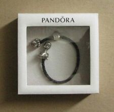 Pandora Black Leather Bracelet with .925 Sterling Silver Charms