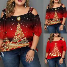 Women Christmas T-shirt Tree Printed Loose Short Sleeve Shoulder Xmas Tops 12 24