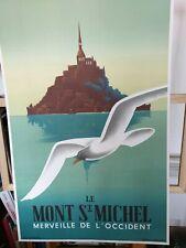 Affiche Litho Mont Saint Michel Chemin De Fer De L'état Fix Masseau 1988