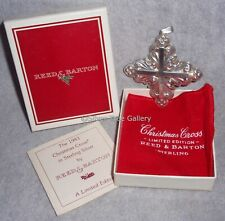 MIB 1983 Reed Barton Sterling Silver Christmas Cross Ornament Pendant Decoration
