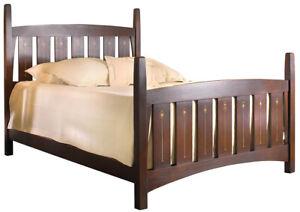 Arts & Crafts Style Stickley Furniture Harvey Ellis Inlaid Oak Queen Bed #89-672