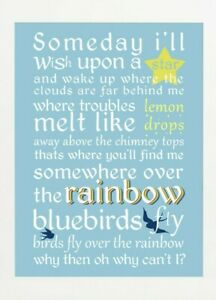 Somewhere Over The Rainbow - Quote Print Poster - Motivational - Wall Art