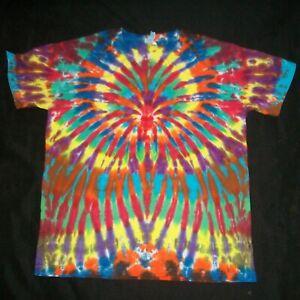 Organic Tie Dye T-Shirt Wild Rainbow Sunburst Medium Hippie Fair Trade Tye Dyed